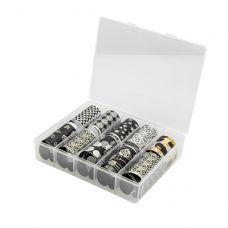 Набір фольги для декору нігтів, Чорні і срібло (10 шт)