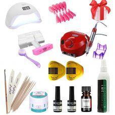 Набор для наращивания ногтей С UV+LED лампой SUN 5 48 и фрезером для маникюра Nail Drill Pro 65 Вт