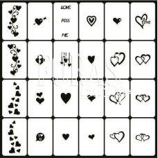 Трафареты для ногтей Сердца