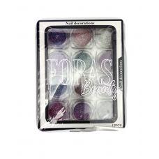 Nail Decorations, конфетті блискітки мікс, 004 набір 12 шт