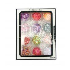 Nail Decorations, конфетті блискітки мікс, 008 набір 12 шт