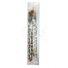 Набор кистей для рисования универсальные с цветочной ручкой, 6 шт.