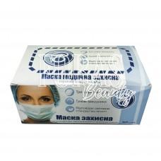 Маска медицинская защитная 3-х слойная одноразовая с резиновыми заушниками (голубая) 50 шт