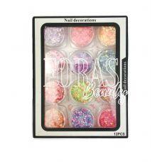 Nail Decorations, конфетті блискітки мікс, 001 набір 12 шт