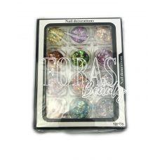 Nail Decorations, конфетті блискітки мікс, 002 набір 12 шт
