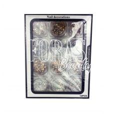 Nail Decorations, конфетті блискітки мікс, 010 набір 12 шт