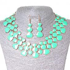 Набор ожерелье и серьги, металл Gold и глянец аквамарин