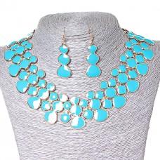 Набор ожерелье и серьги, металл Gold и голубой глянец