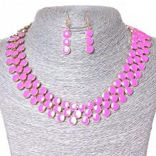 Набор ожерелье + серьги Ягодки, металл Gold и розовый глянец