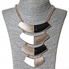 Ожерелье  с пластинами, черно- белое, 40см