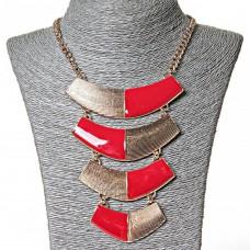 Ожерелье  с пластинами, красно- золотое, 40 см