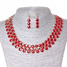 Набор ожерелье + серьги Ягодки, металл Gold и красный глянец