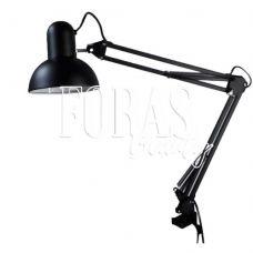 Лампа настільна, чорна на струбцине