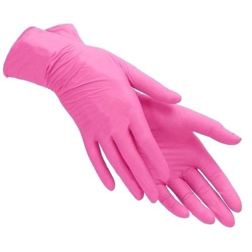 Перчатки нитриловые Polix PRO&MED, 100 штук в упаковке, размер S (розовый)