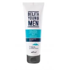 Гель-скраб 2 в 1 для очищения против черных точек и врастания щетины Bielita Belite Young Men Gel Scrub