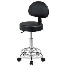 Маникюрный, регулируемый стул со спинкой Yaheetech (Черный)